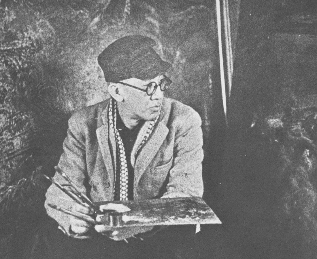 Foujita dans son atelier de Kojimachi, Tokyo, 1941