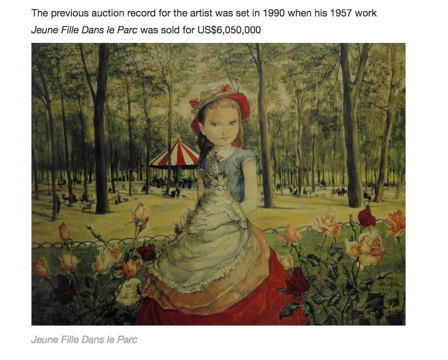 """Léonard Foujita """"La Jeune fille dans le parc"""", 1957 - précédent record de prix en 1990 : 6.050.000$"""