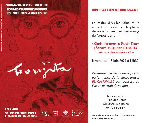 Invitation Inauguration Exposition Foujita-Musée Faure